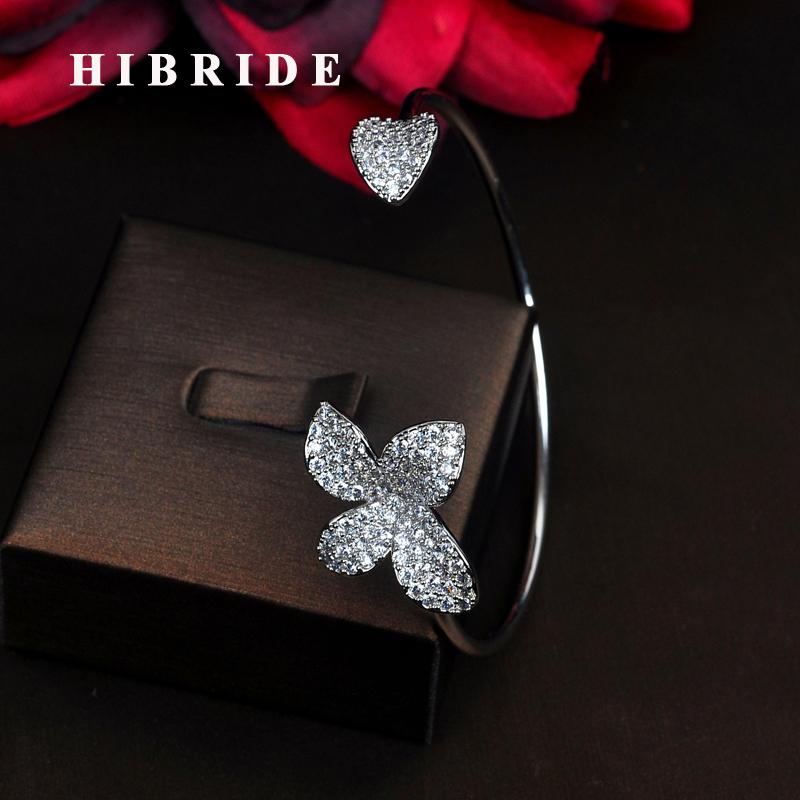 HIBRIDE alta calidad de lujo Micro CZ piedra que conducen a las mujeres pulseras ajustables brazaletes abiertos Pulseira joyería Bijoux regalos B-129