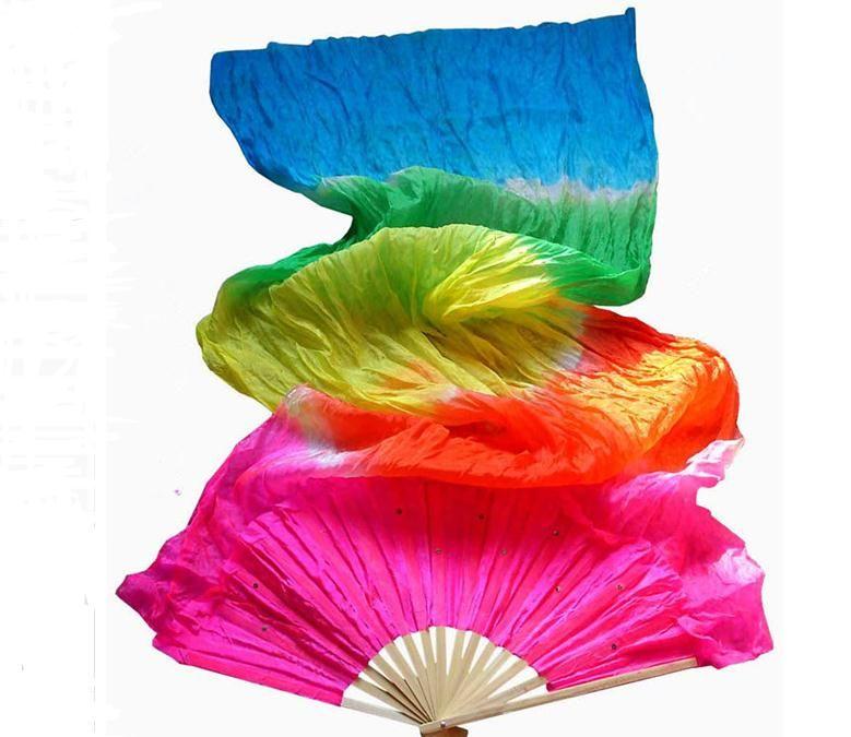 Trabajo hecho a mano colorido del vientre Los aficionados traje de la danza de las mujeres de bambú de seda largo velo de seda del ventilador del ventilador bailando pública a largo Realización de utilería SN