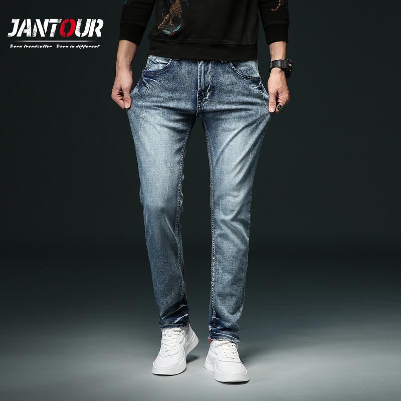 pantalones vaqueros estilo americano europeo de la manera popular los pantalones vaqueros para hombre flaco empalmados pantalón azul de los hombres 28-38