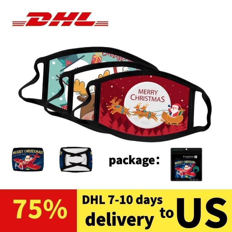 cara reutilizable Navidad de Santa Claus muñeco de nieve mascarilla máscara adulta de algodón poliéster negro lavable máscara mascarilla DHL compras libres de 7-10 días