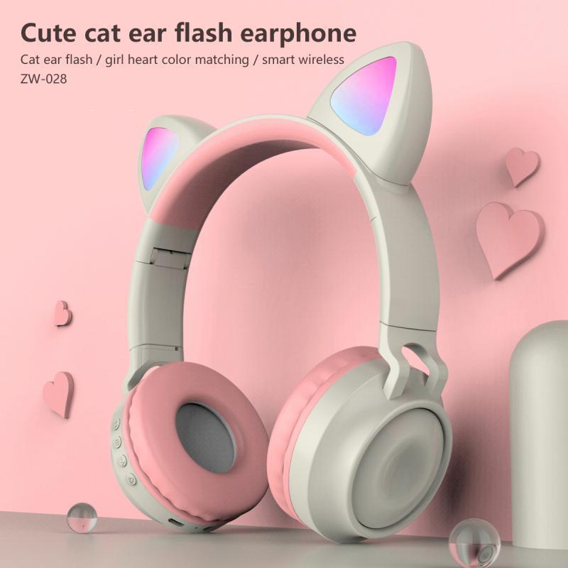 Cute Cat Ear Wireless Headphones Glowing Bluetooth 5.0 cuffia Per Ragazze Cat Ear Headset Stereo musica stereo con microfono