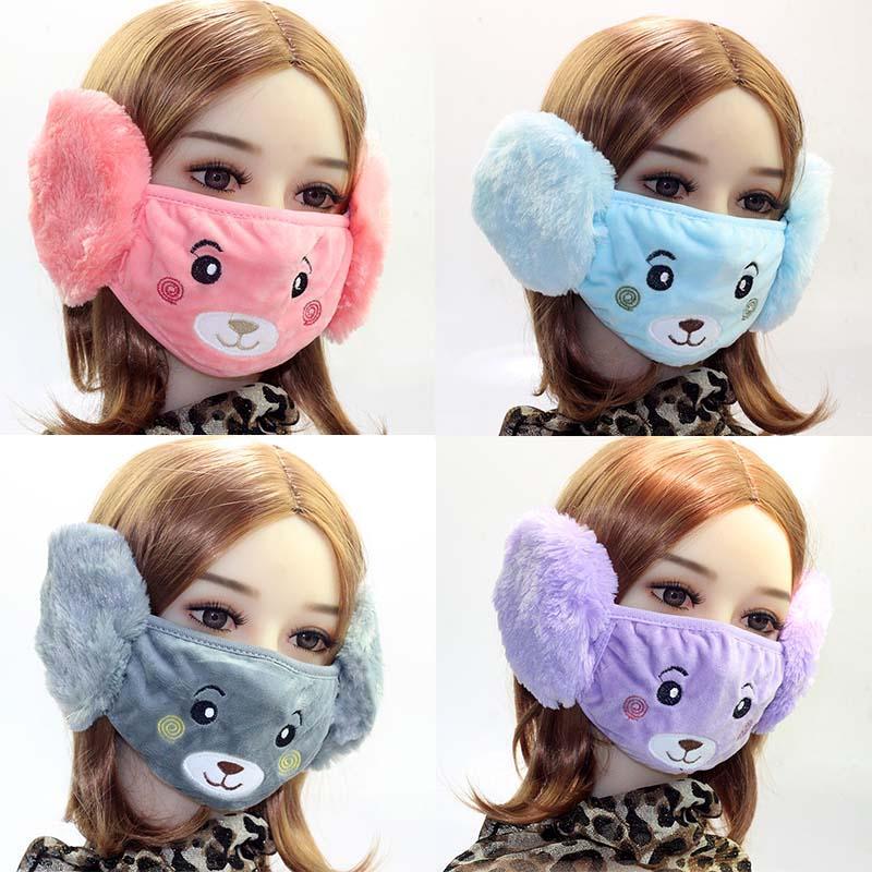 Neue Ankunft Herbst und Winter-Gesichtsmasken Die neue warmer Plüschohrenschutz Combo-Bär im Freien erwachsenen Karikatur mask earmuffs