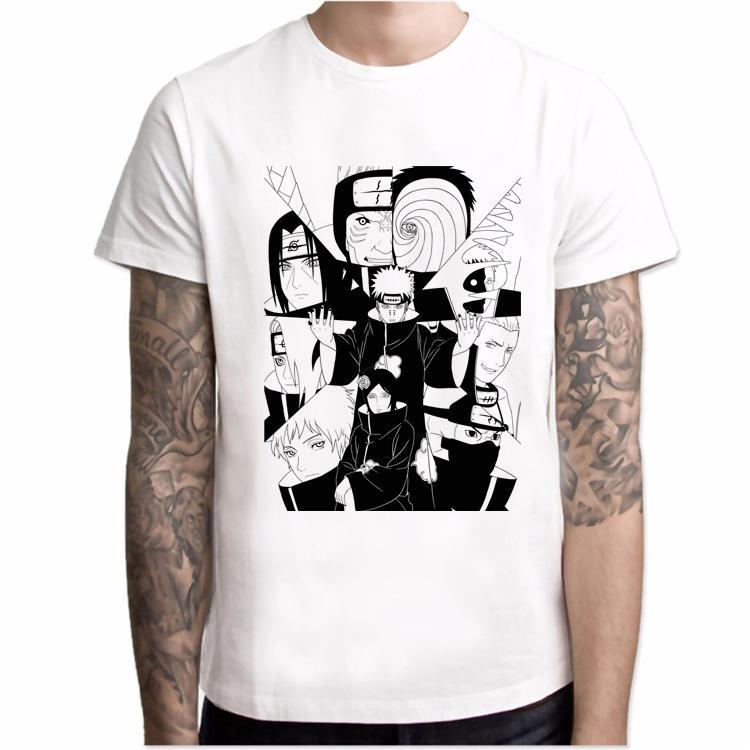 Harajuku Moda Tişörtlü Erkekler Naruto Akatsuki Pein Beyaz Homme Anime Gömlek Marka Casual Streetwear O-Boyun Erkek tişörtleri