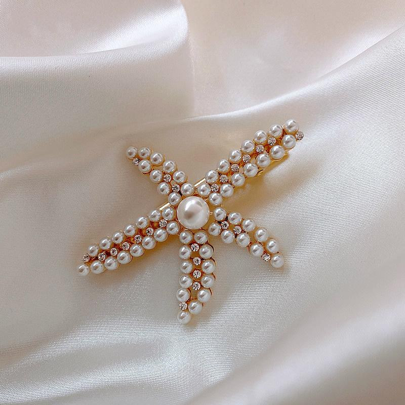 Морская звезда Pearl Headdress Интернет Знаменитости Ins Side Девушки French Шпилька Top Клип Простые Vintage партия моды шпилька