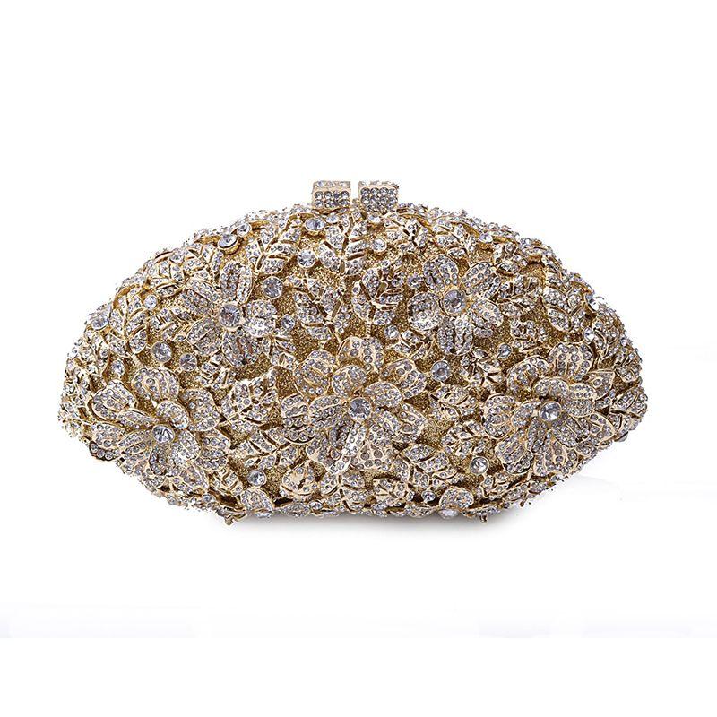Luxuxkristallglas Frauen-Abend-Beutel Art und Weise Diamant-Frauen-Handtaschen-Abend-Handtasche-Blumen-Muster-Partei-Umhängetasche mit Kette