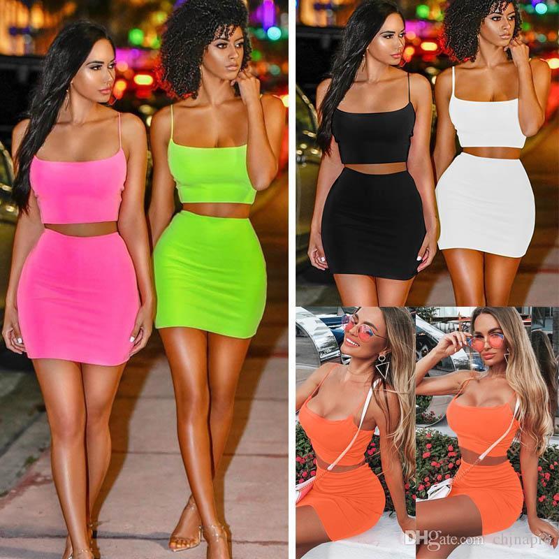 Mulheres de verão 2 dois equipamentos Pedaço Define fluorescente mangas colete tanque Top Curto mini-saias ternos roupas roupa sexy partido streetwear