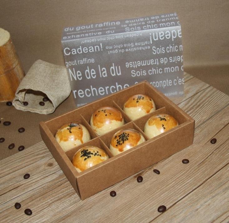 100pcs Brown Kraft carta artigianale Mooncake Scatole Per Cottura Biscotti Handmade Soap festa nuziale di caramella di Scatole per imballaggio SN2145 LvmE #