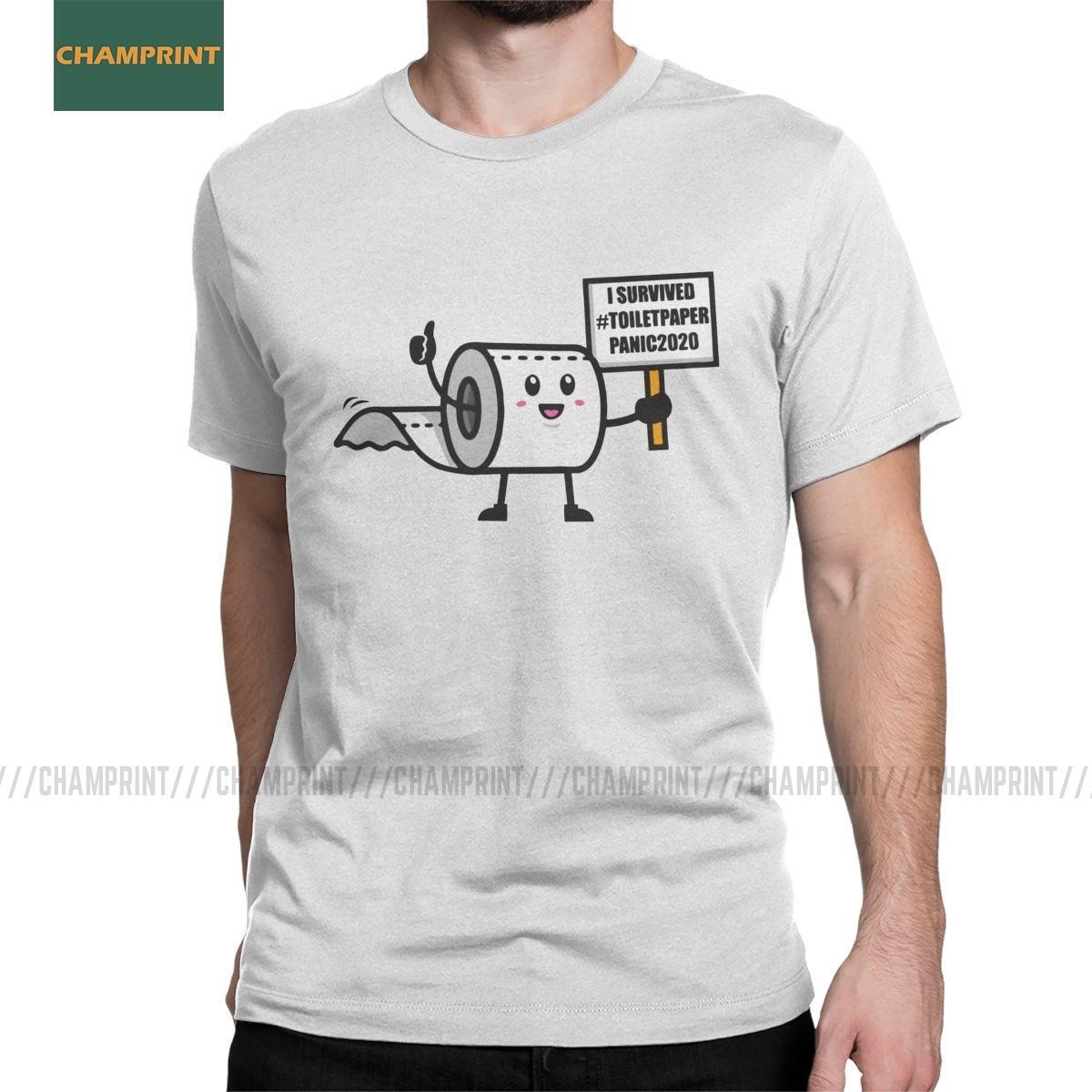 Tuvalet Kağıdı yetersizliği 2020 ben atlattı Tişört Erkekler Rulo Sosyal Mesafenin Stay Home Pamuk Tee Gömlek Kısa Kollu T Shirt Panik