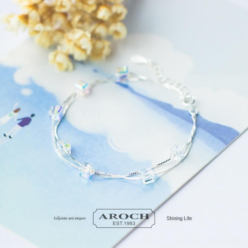 XGHch S925 серебряные женские корейский стиль сладкий романтический сахар кристаллический двухслойная браслет браслет S0586