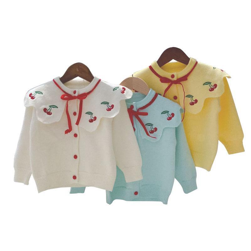 Enfants pull bébé Automne O-Gril cou ComfortSoft pompom Wolly pull pour les enfants boutonné bébé enfant en bas âge tricot tenues pGY4