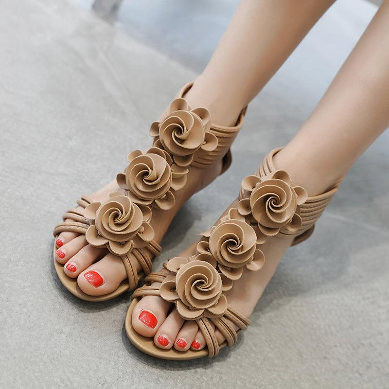 SWYIVY Mulheres Sandles Wedge Comfort planas Sapatos Gladiador Sandles Verão Roma Ladies Plano Plus Size Praia
