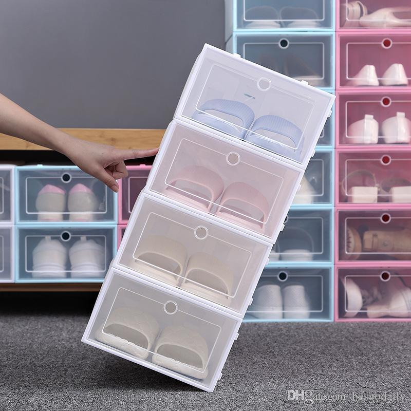 Kalınlaşmak Temizle Plastik Ayakkabı Kutusu toz geçirmez Ayakkabı Saklama Kutusu Ayaklı Şeffaf Ayakkabı Kutuları Şeker Renk İstiflenebilir Organizatör Kutu BH3641 DBC Ayakkabı