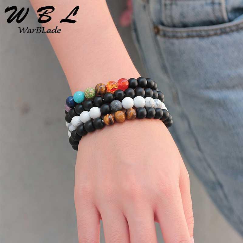 Armband Naturstein 7 Chakra Schwarz Frosted Weiß Turquois Perlen Armbänder Energieperlen Yoga-Armband für Männer Frauen