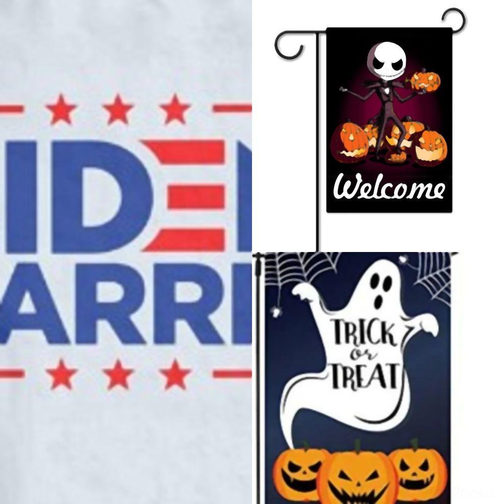 tE2o5 Shipping Inch Garden Flag Scary Night Halloween Decorative Spooky XZ patio Lantern Halloween Pumpkin House FlagsStyles O