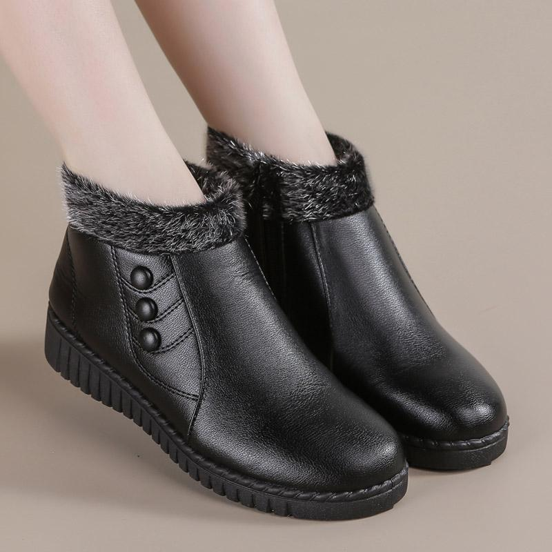 ZZPOHE женщин Зимние сапоги 2020 Мода Кожа PU Женщина Теплый Non-Slip Ботильоны Бабушкины удобный хлопок обувь