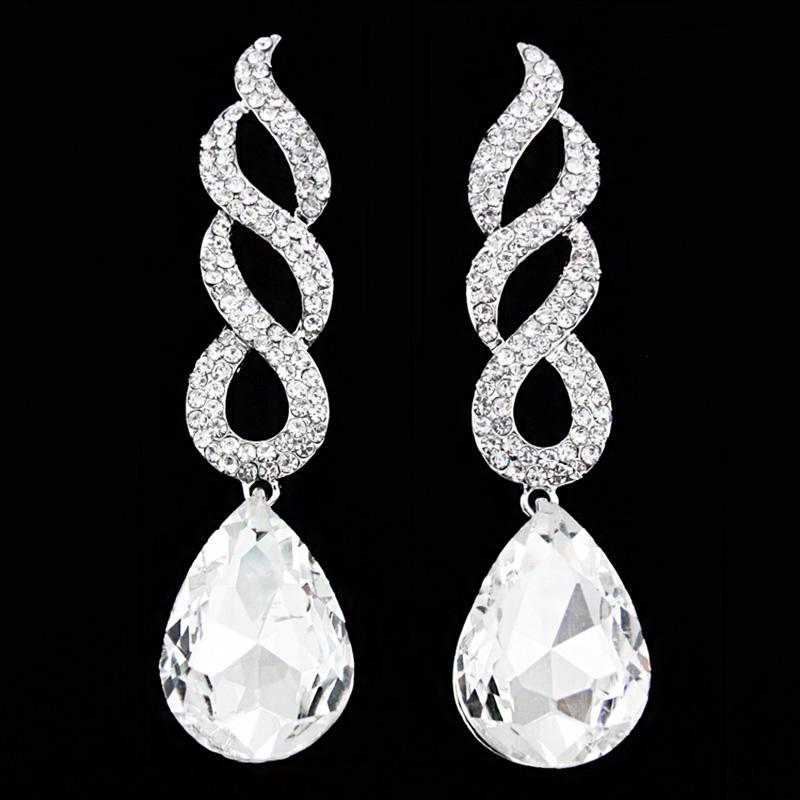 OCESRIO großes Kristall Statement Ohrringe für Frauen-silberne Farbe Langen Hochzeit Ohrringe für Bräute Hochzeit Schmuck kolczyki ERS-G84