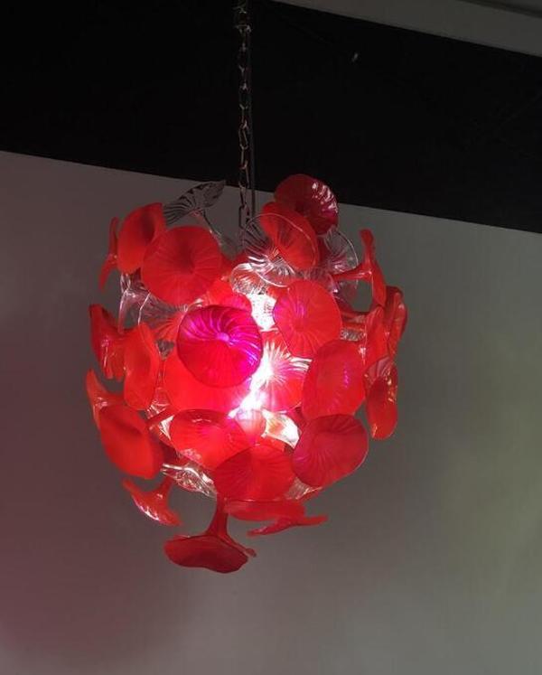 Cgjxs Noël Festival Halloween Décor en verre soufflé main rouge trompette Lustre Mouthblown Chine Murano Designer Luminaires