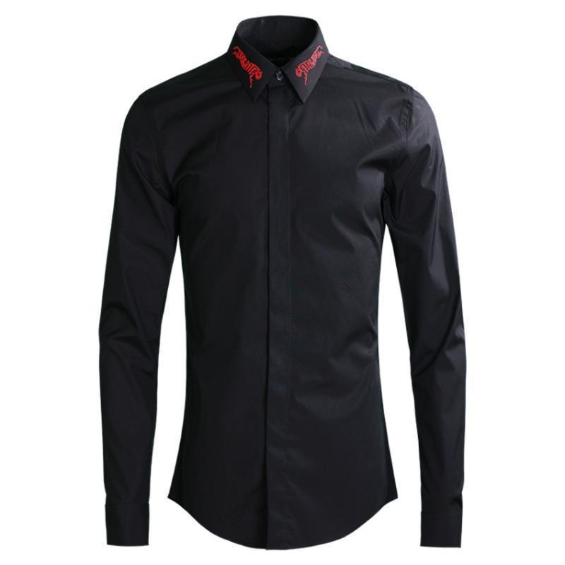 Hombres rojo de lujo del leopardo de manga larga para hombre Negro Blanco adelgazan las camisas ocasionales tamaño 4XL partido de la camisa del hombre