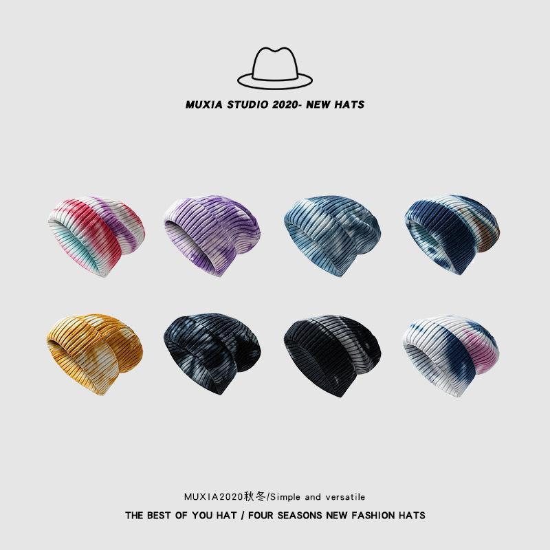 Tie-dye hiver Bonnet pour femmes Cachemire Bonnet tricoté coloré skullies Cap d'automne Chapeaux de fourrure pour femmes