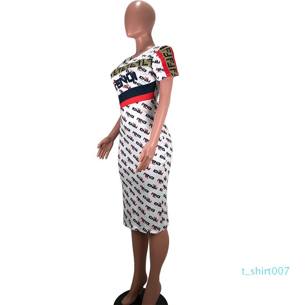 Fandi Marke Print Midi-Kleid-Sommer-Frauen-beiläufige Art und Weise Brief gedruckt Runde Kragen-Kurzschluss-Hülsen-dünne Street Party-Kleid-Weiß t06