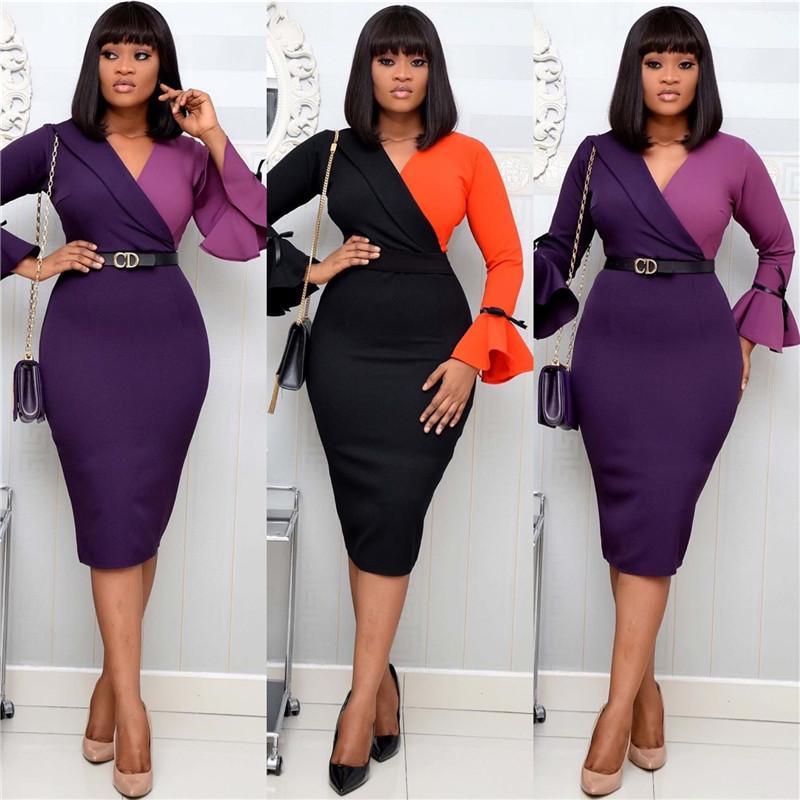 Fashion OL Women Dresses Casual Contrast Color V Neck Long Sleeve Slim Bodycon Dress Women Plus Size Clothing