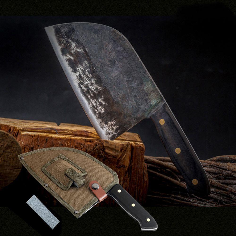 Completa Tang Chef faca artesanal Forged alta emissão de carbono de aço revestido de facas de cozinha Cleaver filetagem Slicing Broad Butcher faca