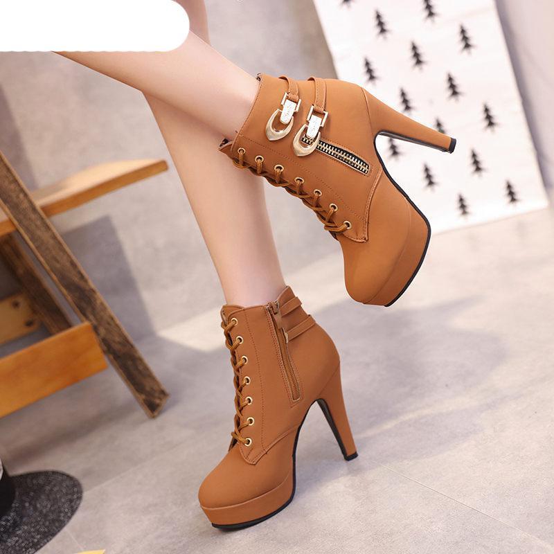 Плюс размер 35-43 платформы сапоги осень зима женщин сапоги высокого качества Твердые Шнуровке европейские Женская обувь Кожа PU Zip