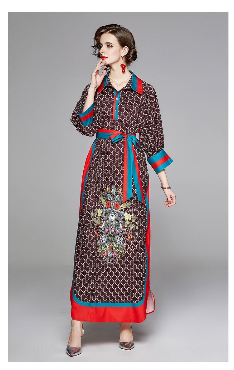 Fashion nouvelles tendances Robe ample 2020 femmes impression Robes manches longues revers avec Jupettes taille fermeture Robe