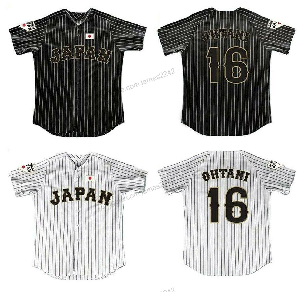Пользовательские Японии Самурай 16 Shohei Отани фильм Бейсбол Джерси Дважды прошитой любое имя и номер Black White Stripe полосатых Лучшие качества