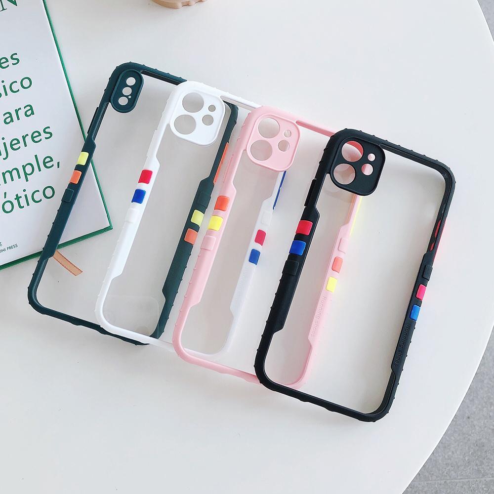 Contraste Couleur Clear Case pour iPhone 11 Pro Max X XR XSM 7 8 Plus SE 2020 Acrylic Case Protection Caméra souple Couverture arrière