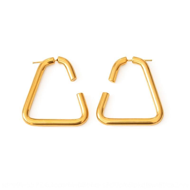 qNnmh alta placas de color del vacío del oro verdadero triángulo delantero y la espalda colgando femenina geométrica y pendientes pendiente de viento simple resfriado temperamento
