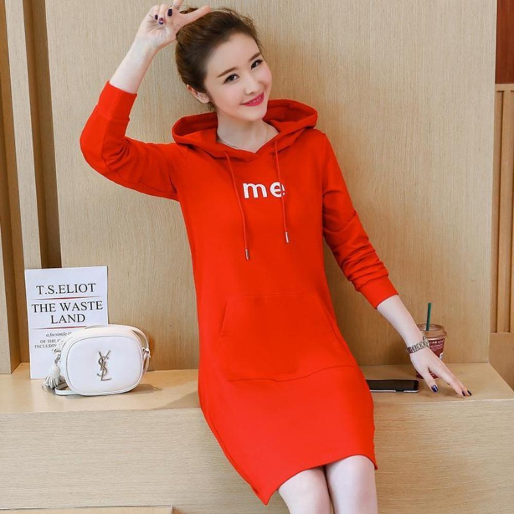 Frauen-Mittellange Top-Kleid Pullover Frühling und Herbst der neuen koreanischen Stil plump MM Größe beiläufige lose mit Kapuze Kleid oben 9YHqu 9YHq gedruckt