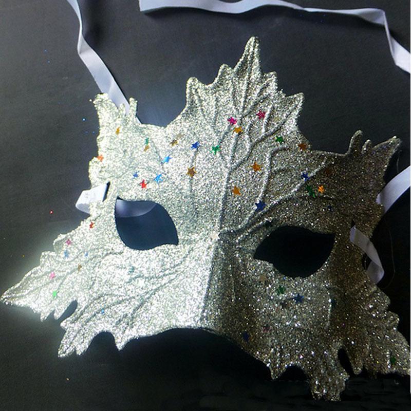 Maple Leaf Sexy pour femmes coloré filles mascarade danse Parti moitié visage yeux Masque Halloween Costume de déguisement