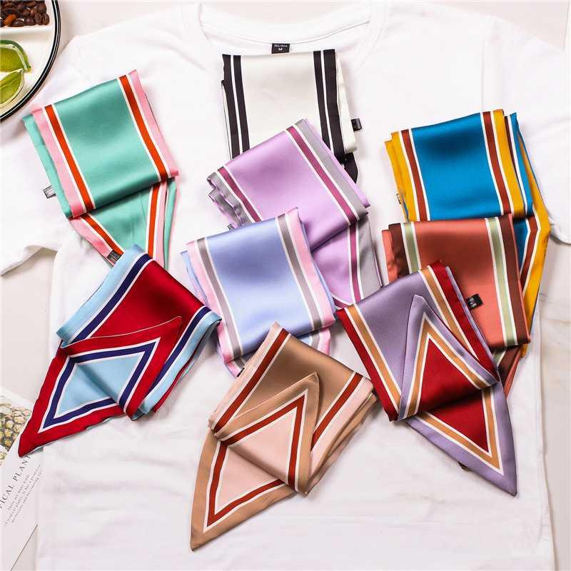 Women neck scarf luxury Solid silk skinny scarfs lady hairband satin bag ribbons wrap tie 2020 New female hairband