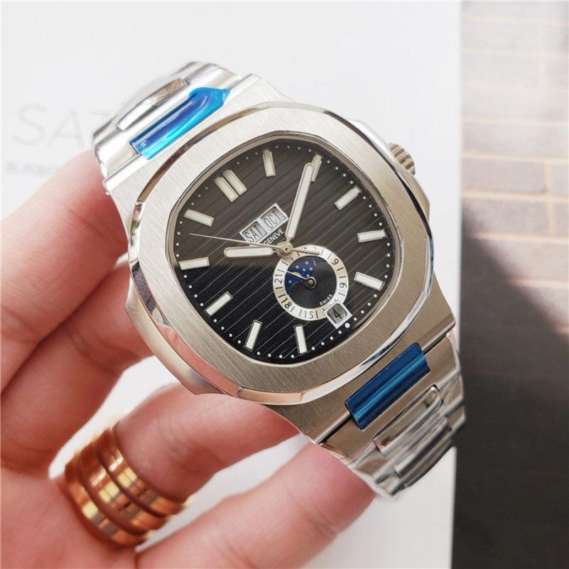 Top Mens Watch 5726 Series 40MM Moon Phase Dial Sapphire Glass Automatic Leather Strap Men Designer Sports Wristwatch