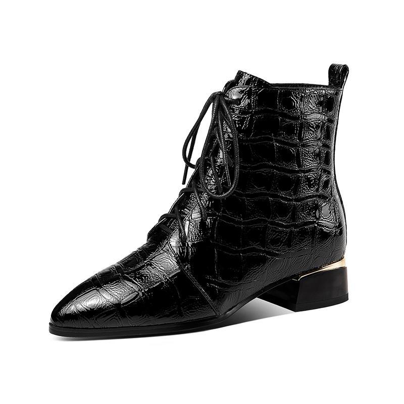 Tacchi Lady Ufficio Inverno Genuine Leather Stivali da donna Scarpe a punta Calzature Donna Nuovo Partito Piazza Med Stivaletti