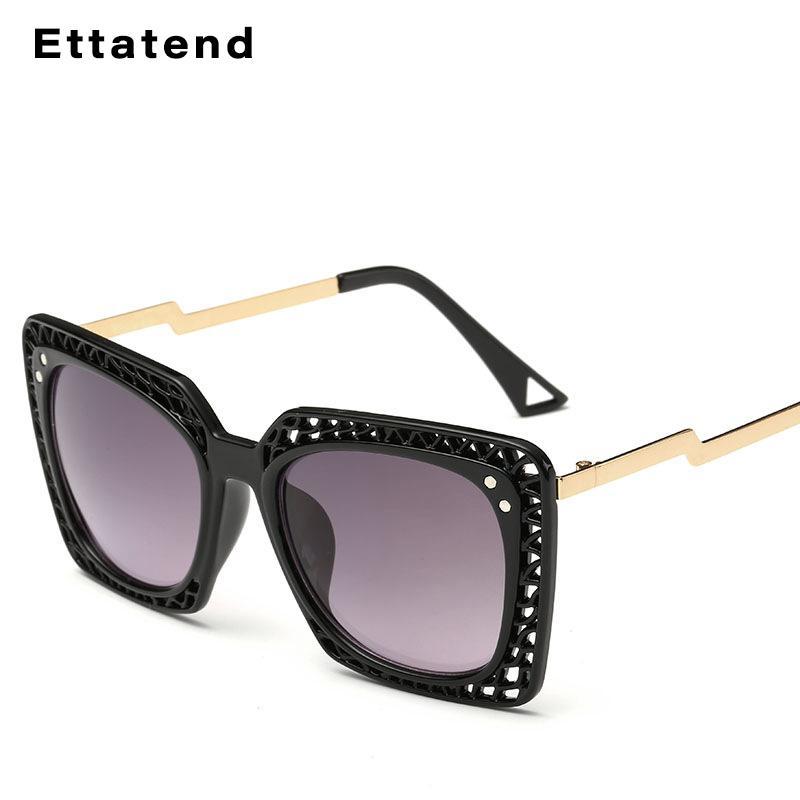 Design de Moda Praça Sunglasses Mulheres oco do quadro do Sun Glasses Personalidade Luxo Óculos Shades Femininas UV400