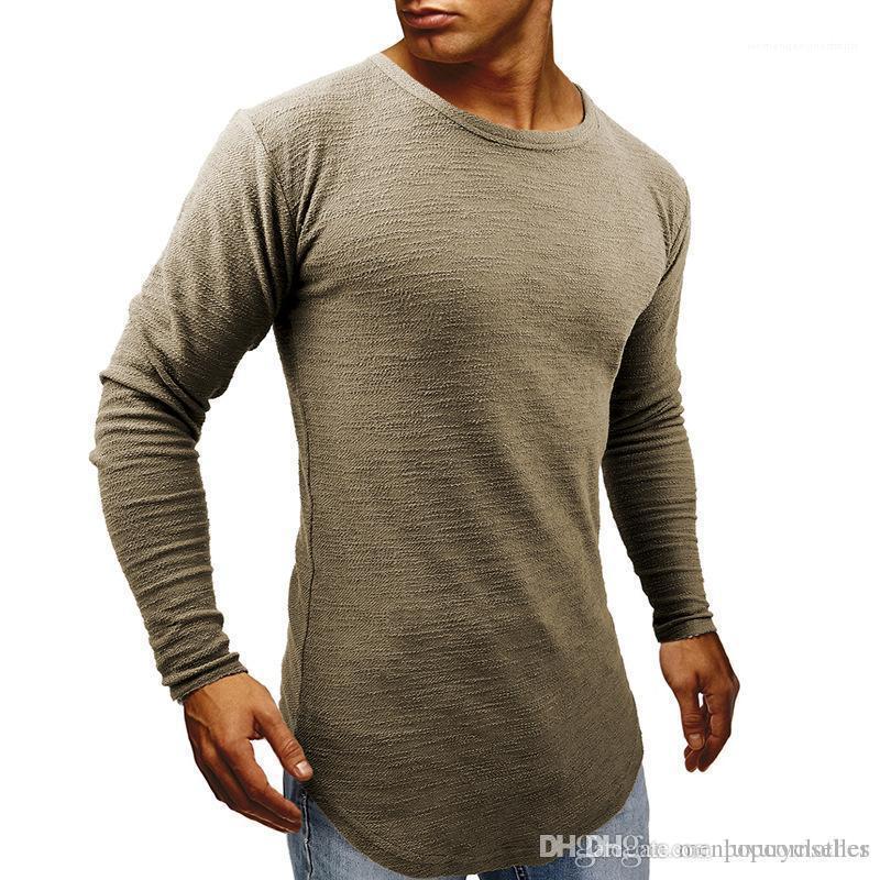 Tshirts İlkbahar Sonbahar Muscle Slim Fit Uzun kollu Tees Mens Longline Kavisli Designer Tops