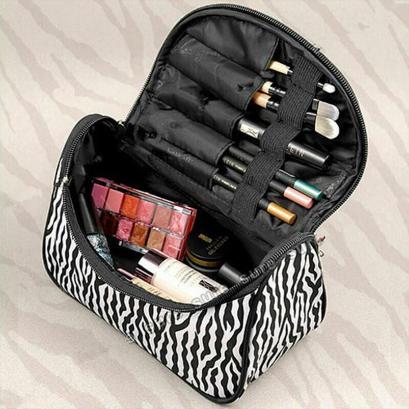 Cosméticos Bags Padrão Zebra Cosmetic Bag da Mulher grandes Makeup Bag Cosmetic armazenamento caso Handle viagem Organizer