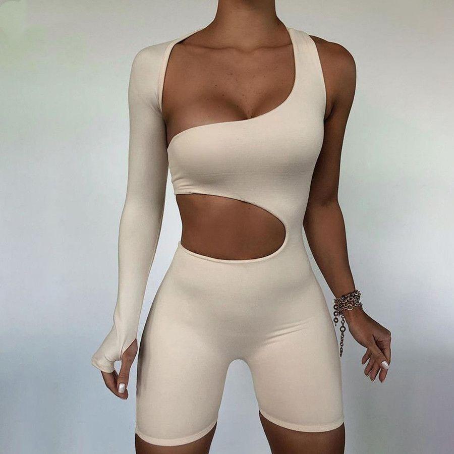 비대칭 솔리드 여성 rompers 2020 기본 긴 소매 캐주얼 스포츠웨어 스트리트웨어 여성 탄성 높은 허리 jumpsuits