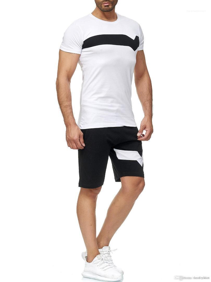 HOMBRES 2pcs Одежда Костюмы Футболки с коротким рукавом Шорты Спортивные костюмы мужские Летние шорты Комплекты