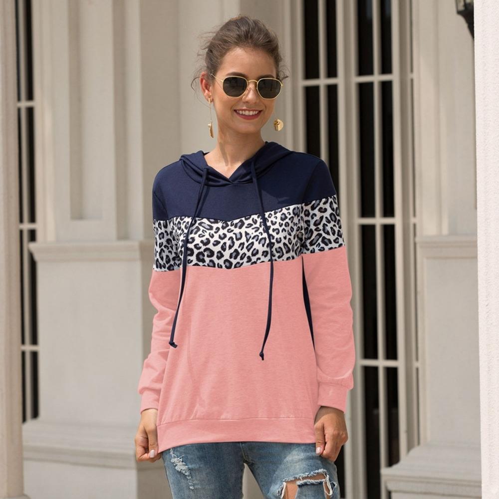 S6oEb 2020 Autunno nuova stampa delle donne di inverno e abbigliamento con cappuccio Yama leopardo maglione cuciture felpa con cappuccio con coulisse maglione