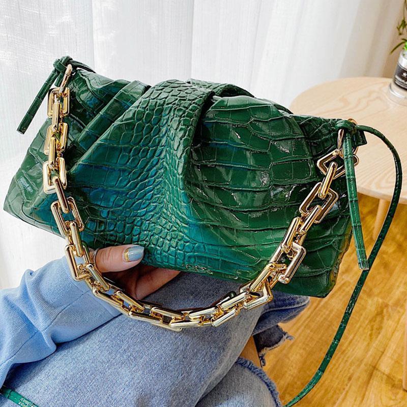 Высокое качество нового Crossbody сумки для женщин Мода PU кожа Сумка Престижное конструктора складчатой Толстые цепи Женский Totes 2020