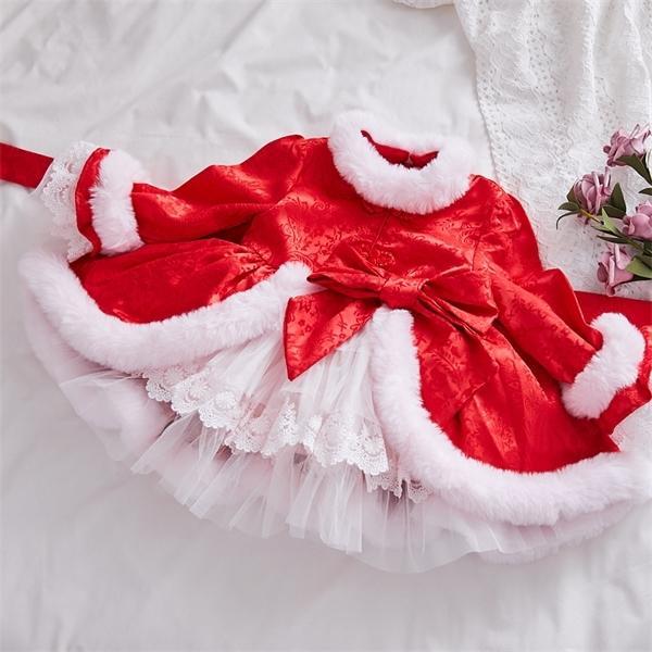 Crianças roupas de luxo do inverno das crianças vermelho da festa de aniversário infantil vestido para meninas Crianças Espanhol Vestidos bebê sólida 0925