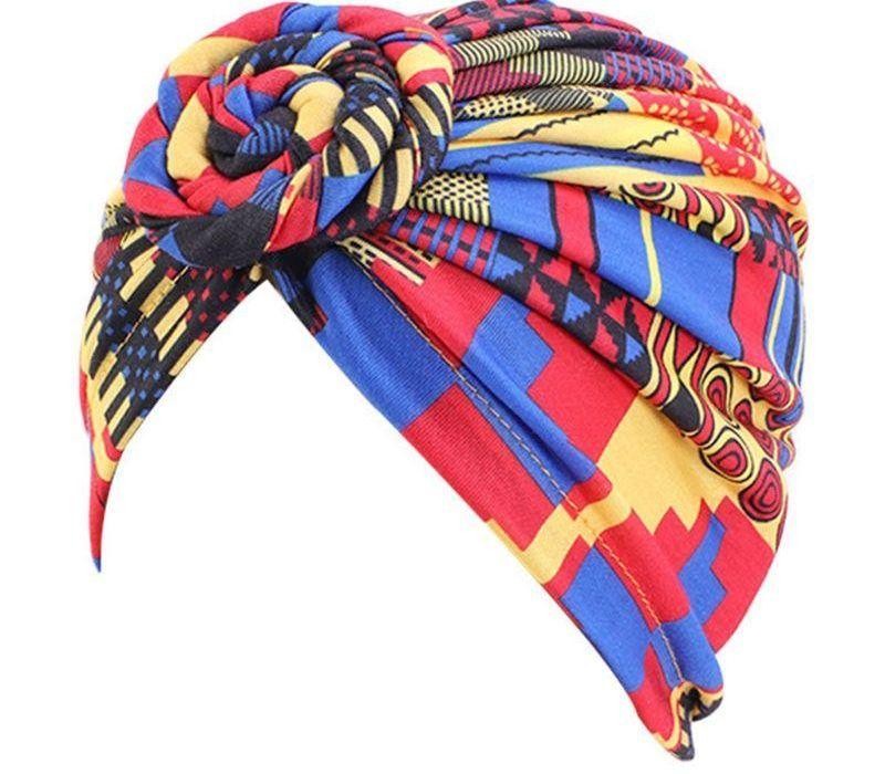 Bohème femmes coton Turban Hat Spiral noueuse Forehead pré-Tied tête Wrap motifs géométriques ethniques rétro Bonnet