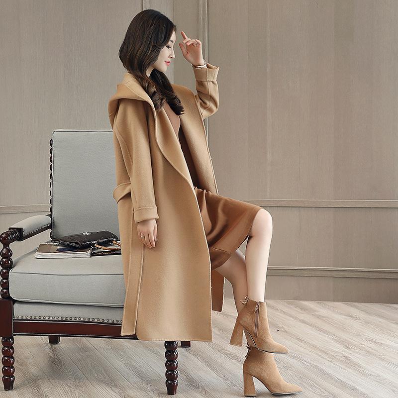 Женская шерстяная смесь шерстяного пальто зимняя одежда толстый с капюшоном на колене Windbreaker плюс хлопок длинный корейский