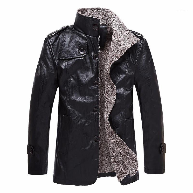 Erkek Moda Sıcak Lüks PU Deri Ceket Erkek Tasarımcı Deri Ceket Uzun Stiller Kalın Kış Coat
