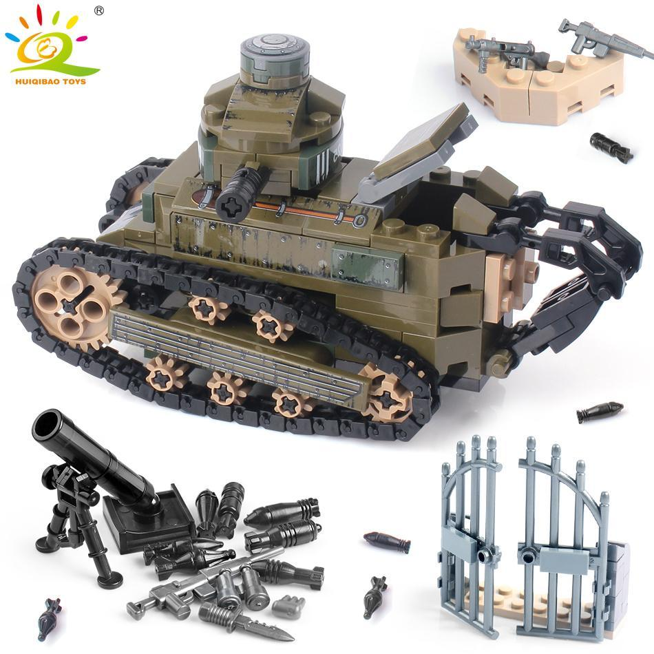 Bricks 368pcs Ww2 Tank Man Ft17 Building Toys Figures Huiqibao Army Blocks Soldier For Boys Weapon Children Renault Military yxlmyR xhlove