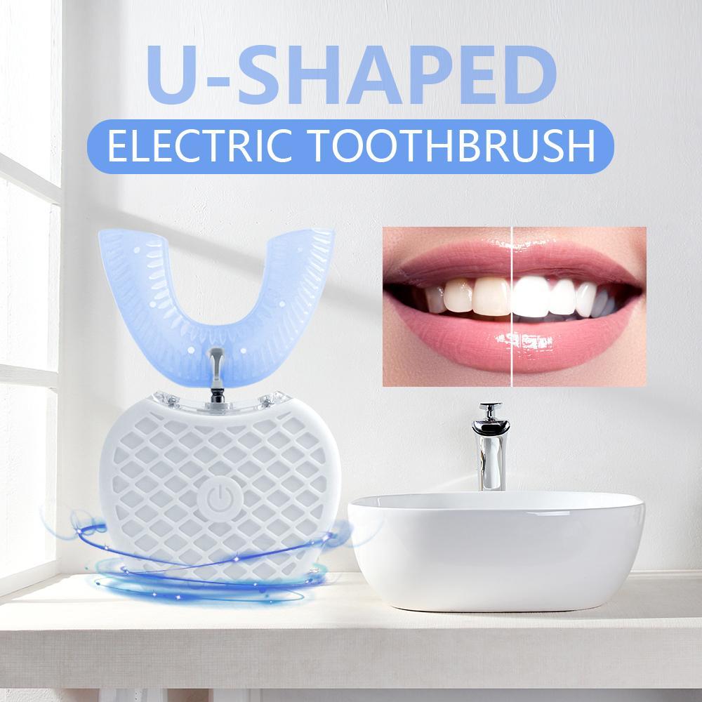 360 degrés Intelligent Automatique Brosse à dents électrique Sonic U Type 4 Modes Brosse à dents dents de charge USB Whitening Blue Light