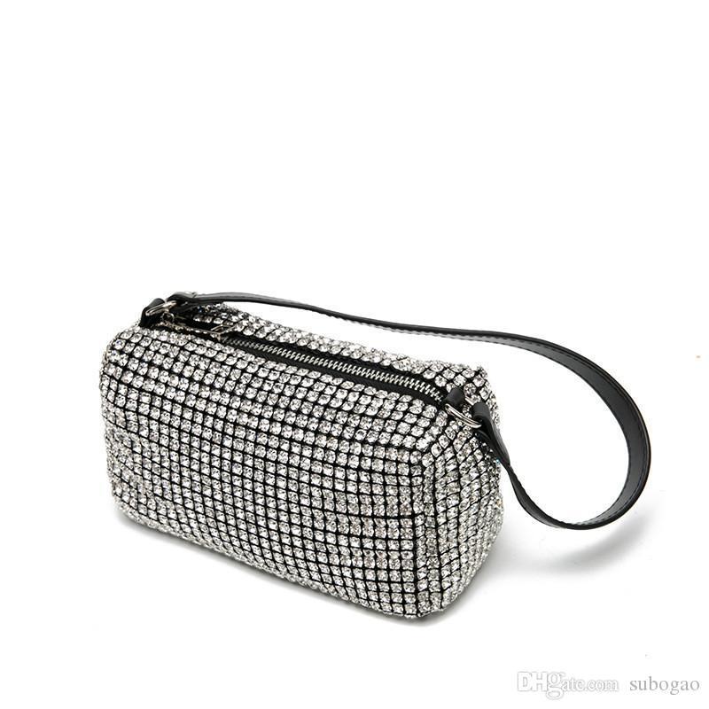 Famoso designer saco Miss Wang Bling Buling Bag Jantar Mulheres Glitter Diamante Noite Bolsas Lady Rhinestone partido brilhante Shoulder Bag gratuito Gota